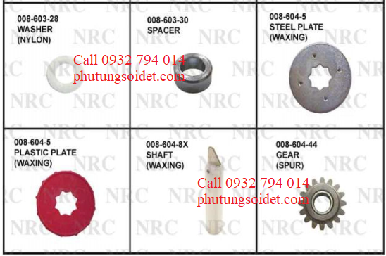 Spacer 008-603-30 Steel Plate 008-603-5 Plastic plate 008-604- Shaft 008-604-8X Gear (Spur) 008-604-44