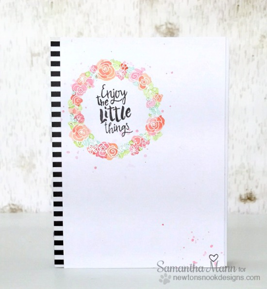 Watercolored Wreath card by Samantha Mann | Happy Little Thoughts Stamp set by Newton's Nook Designs #newtonsnook
