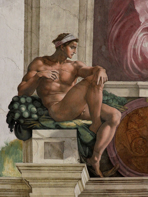 Ignudo by Michelangelo from the Sistine chapel including acorn details
