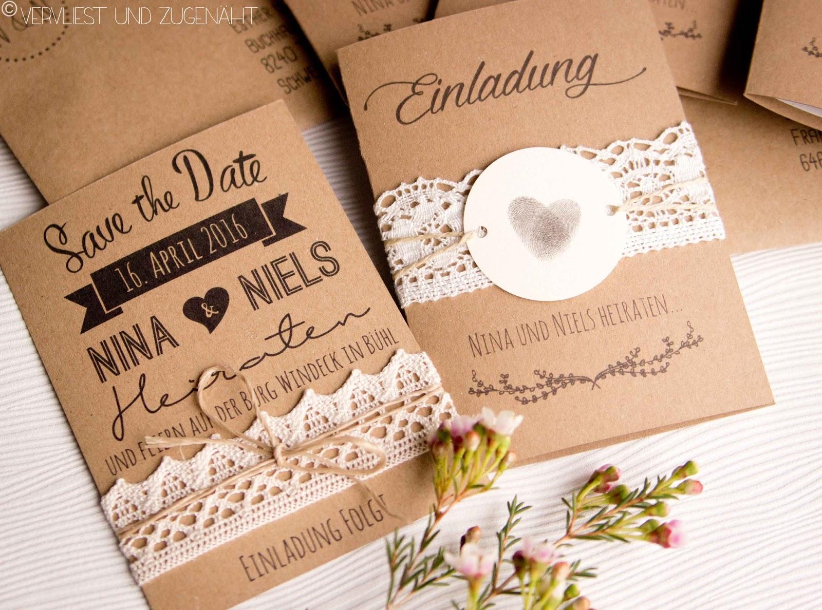 Vervliest und zugenht Hochzeitseinladung aus Kraftpapier