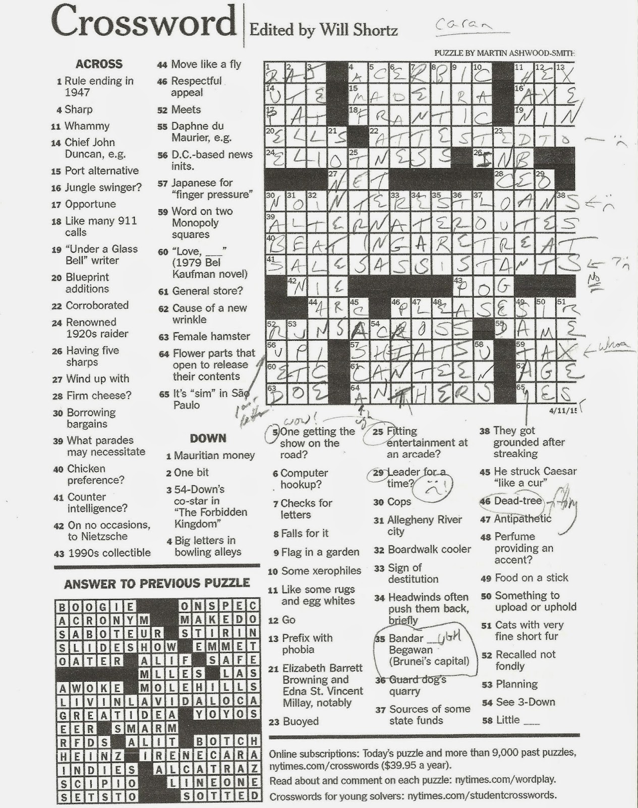 Rex Parker Does The Nyt Crossword Puzzle Japanese For Finger Pressure Sat 4 11 15 He Struck