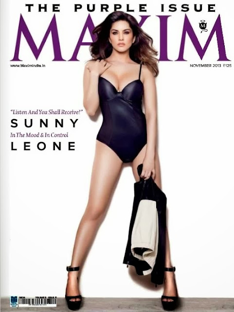Stunning Sunny Leone covers page of Maxim November 2013 issue