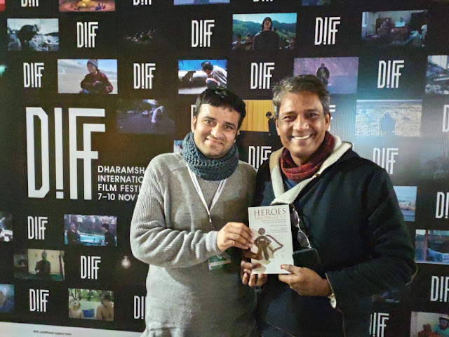 With noted Indian actor Adil Hussain at Dharamshala