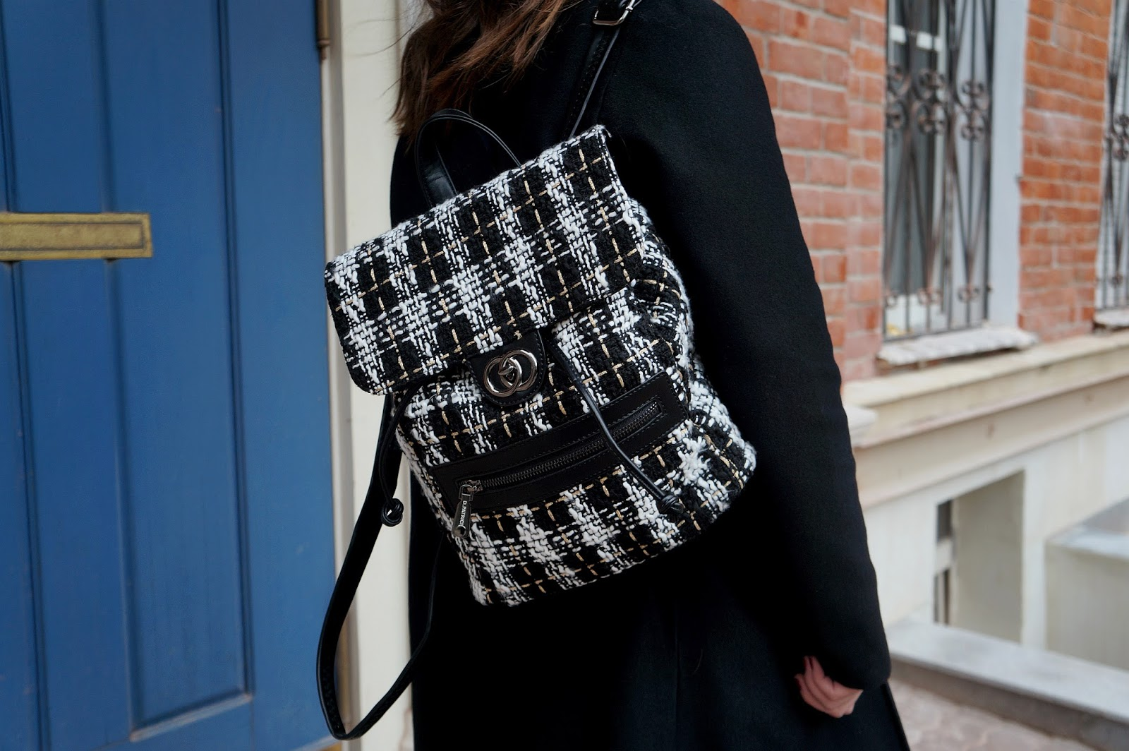 Tweed Backpack | Street Style