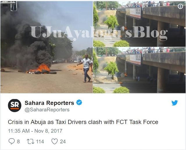 Abuja City on Lockdown as Taxi Drivers Clash with FCT Task Force in Violent Protests (Photos)