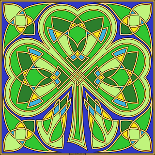 Knotwork shamrock- with a blank version to color