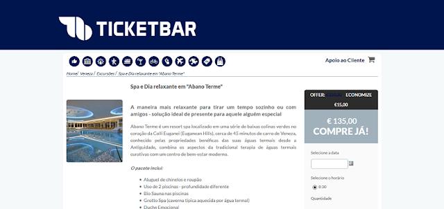 Ticketbar para ingressos para o Spa Abano Terme em Veneza