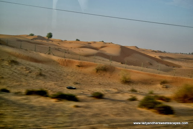 vast desert land in between Dubai and Fujairah