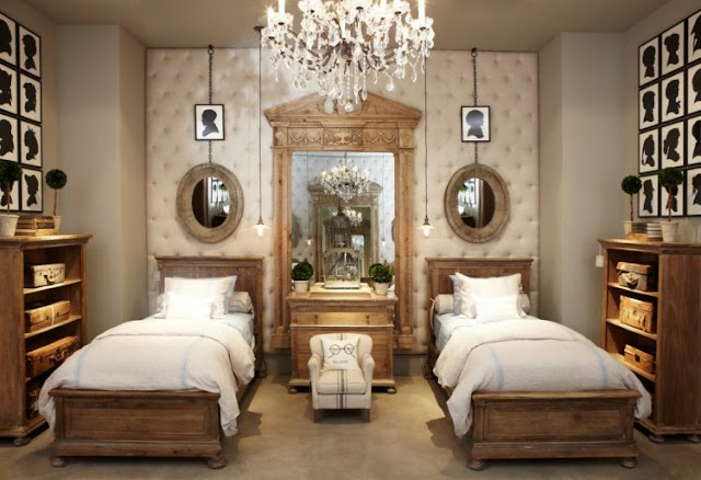 Twin Beds With Crystal Chandelier