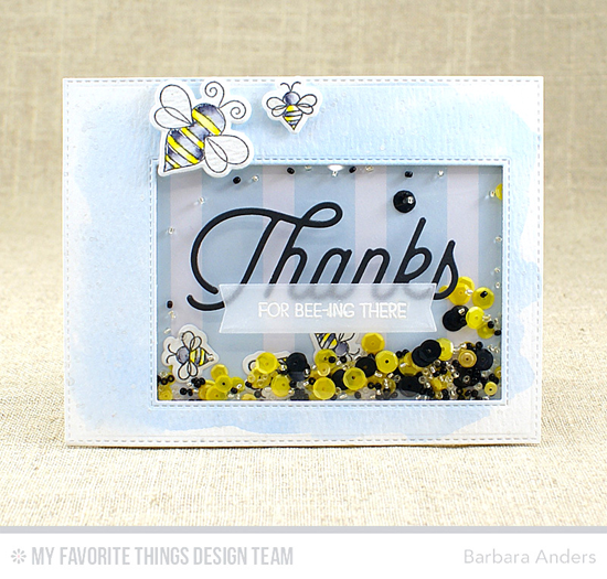 Handmade card from Barbara Anders featuring Lisa Johnson Designs Fly-By Friends stamp set and Die-namics, Twice the Thanks, Inside & Out Stitched Rectangle STAX, and Tag Builder Blueprints 4 Die-namics #mftstamps