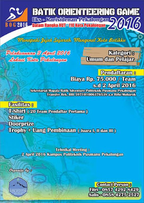 EVENT: Pekalongan | 2 April 2016 | Mapala Batik Adv | Batik Orienteering Game 2016