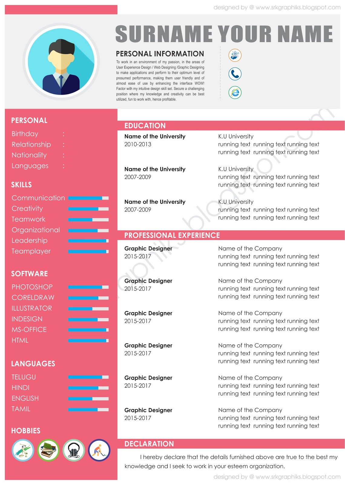 red cv template with blue and grey details