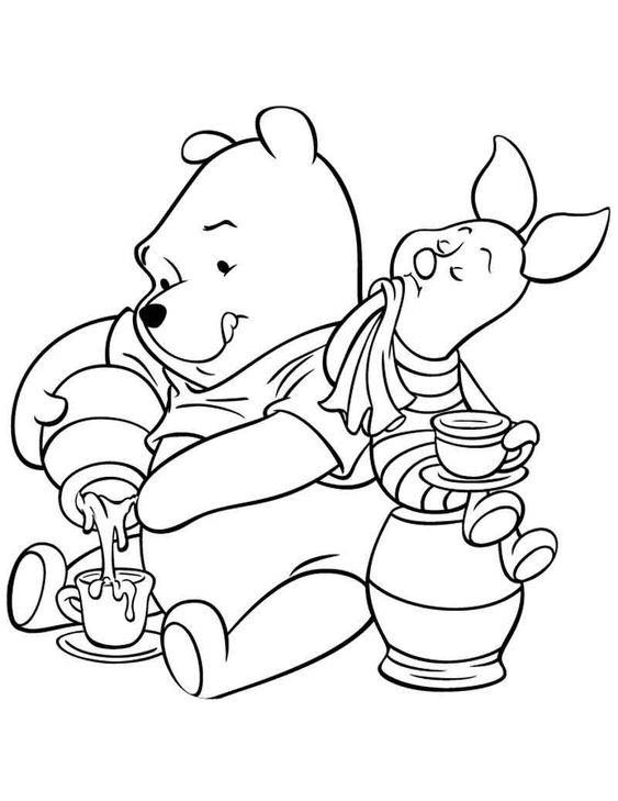 Tranh cho bé tô màu gấu Pooh 25