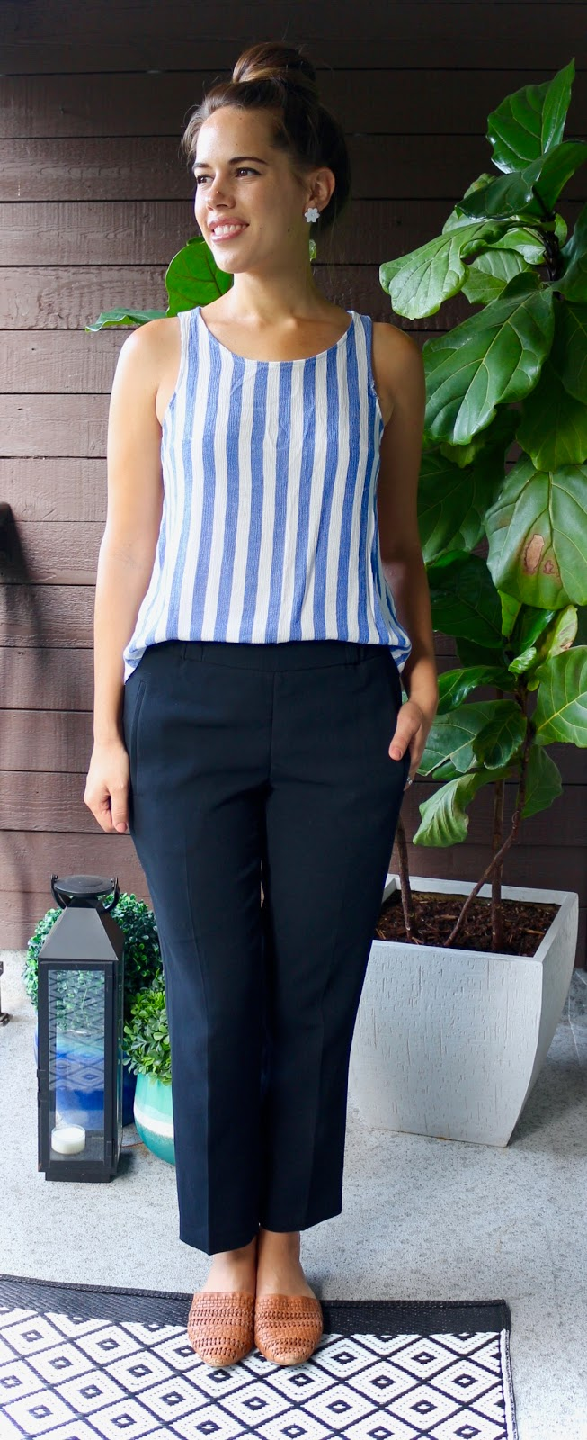 Jules in Flats - Stripe Top with Aritzia Darontal Crepe Pants (Business Casual Summer Workwear on a Budget)