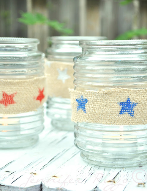 Bring some patriotism to the table with these patriotic tea light holders. Perfect for the table during your Fourth of July BBQ!