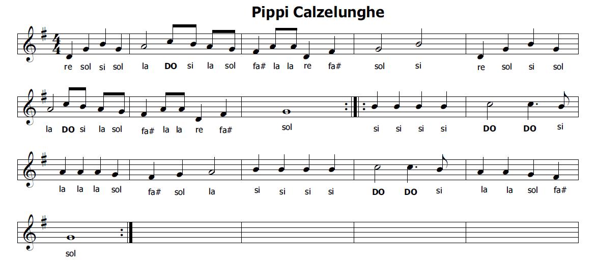Amato Musica e spartiti gratis per flauto dolce: Pippi Calzelunghe  EQ28