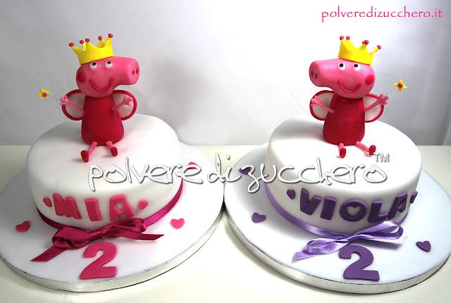 torta peppa pig gemelle pasta di zucchero cake design polvere di zucchero torta decorata