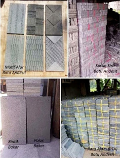 Model Desain Gambar Batu Alam Andesit Motif Alur, Susun Sirih, Bintik Bakar, Polos Bakar dan (RTA) Teras Templek Dinding Rumah Minimalis