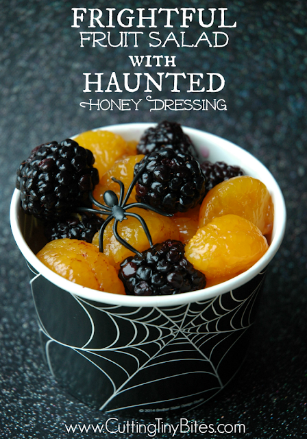 Frightful Fruit Salad With Haunted Honey Dressing. Healthy halloween snack for kids, perfect for parties!