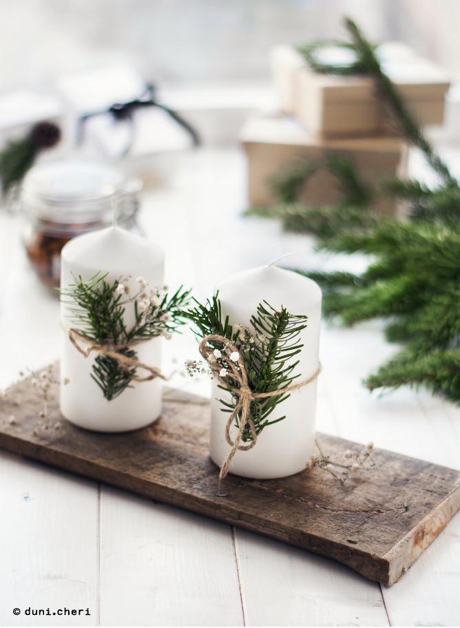 Adventskranz minimalistisch kerzen Tannenzweige selber basteln