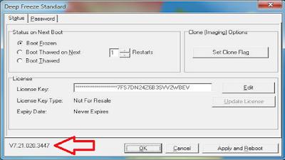 1. Pastikan anda masih memiliki aplikasi instalasi Deep Freeze nya dan versinya harus sama sengan yang terinstal.