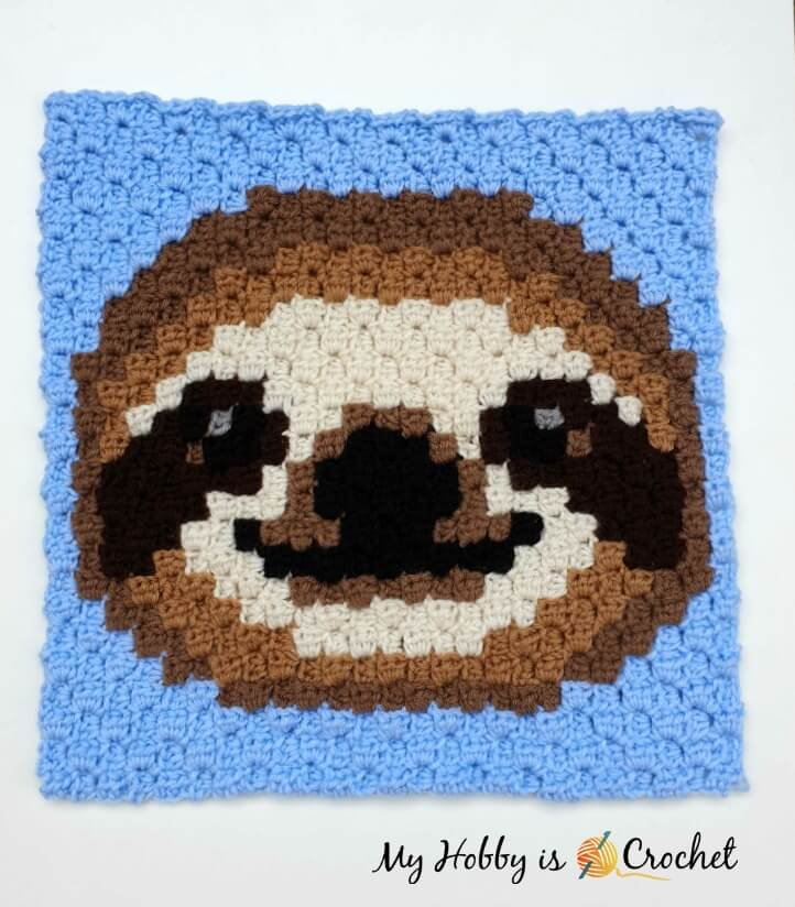 Sloth C2C Square - Free Crochet Pattern