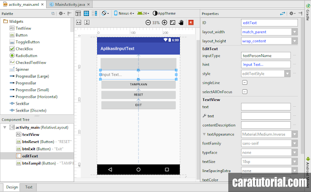 Design Aplikasi Input Text Android Studio