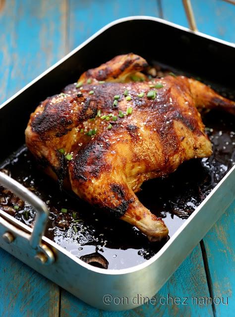 poulet, rôti , sauce miso , sucré/salé