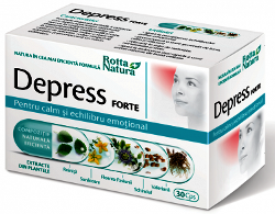 Imagine cu cutia medicamentului naturist Depress Forte pentru atingere unui echilibru emotional si tratarea depresiei