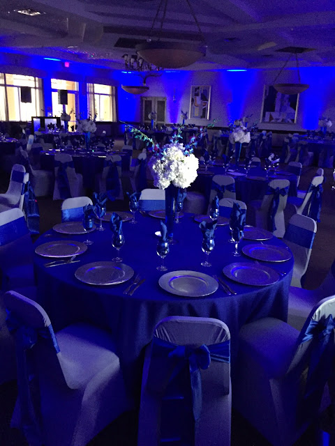 blue uplights, royal blue wedding, silver wedding by eventsojudith, dj, wedding dj