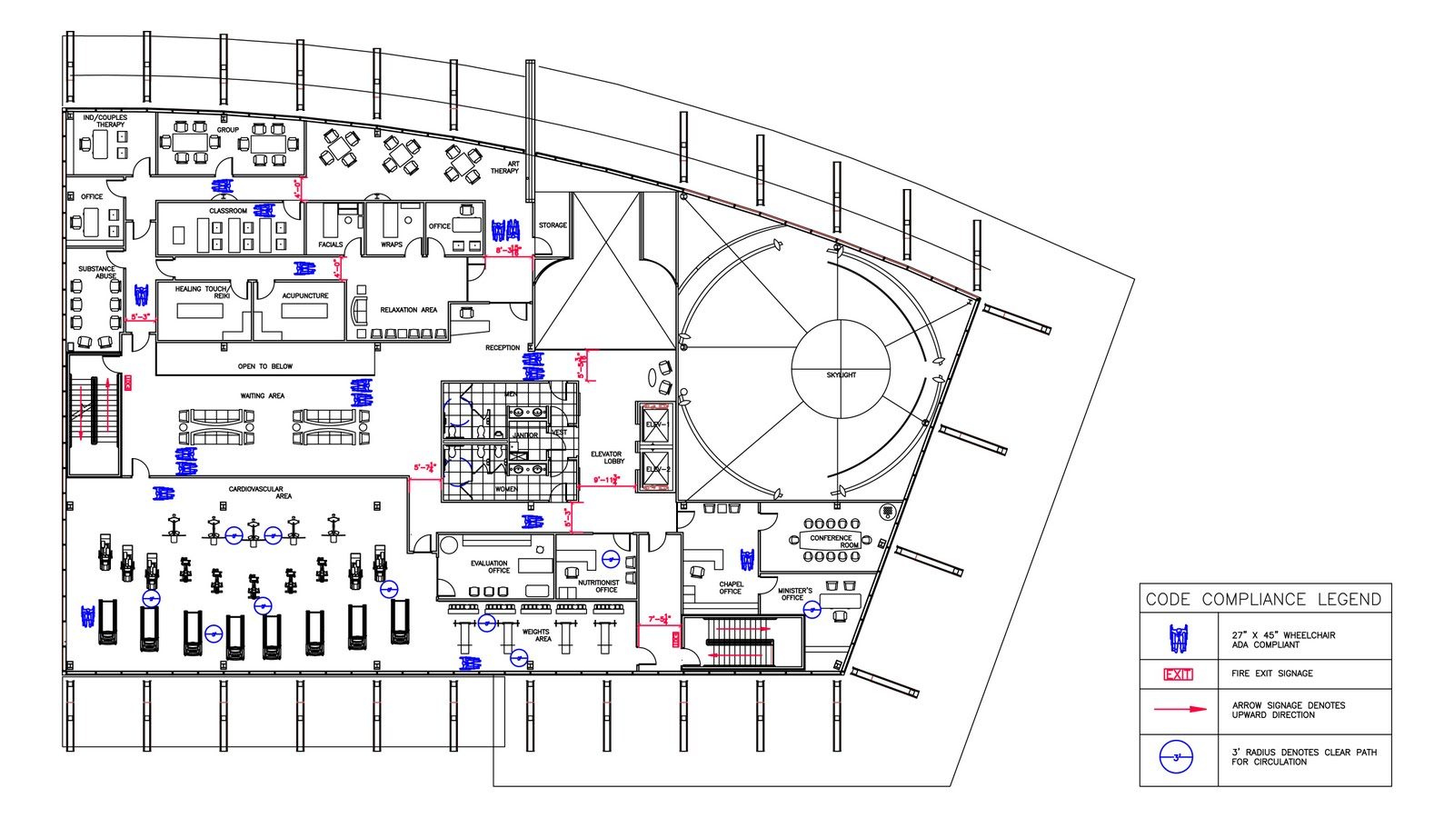 Greensphere Wellness Center Code Compliance Diagrams