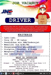 Lowongan kerja sopir supir driver JNE Bandung