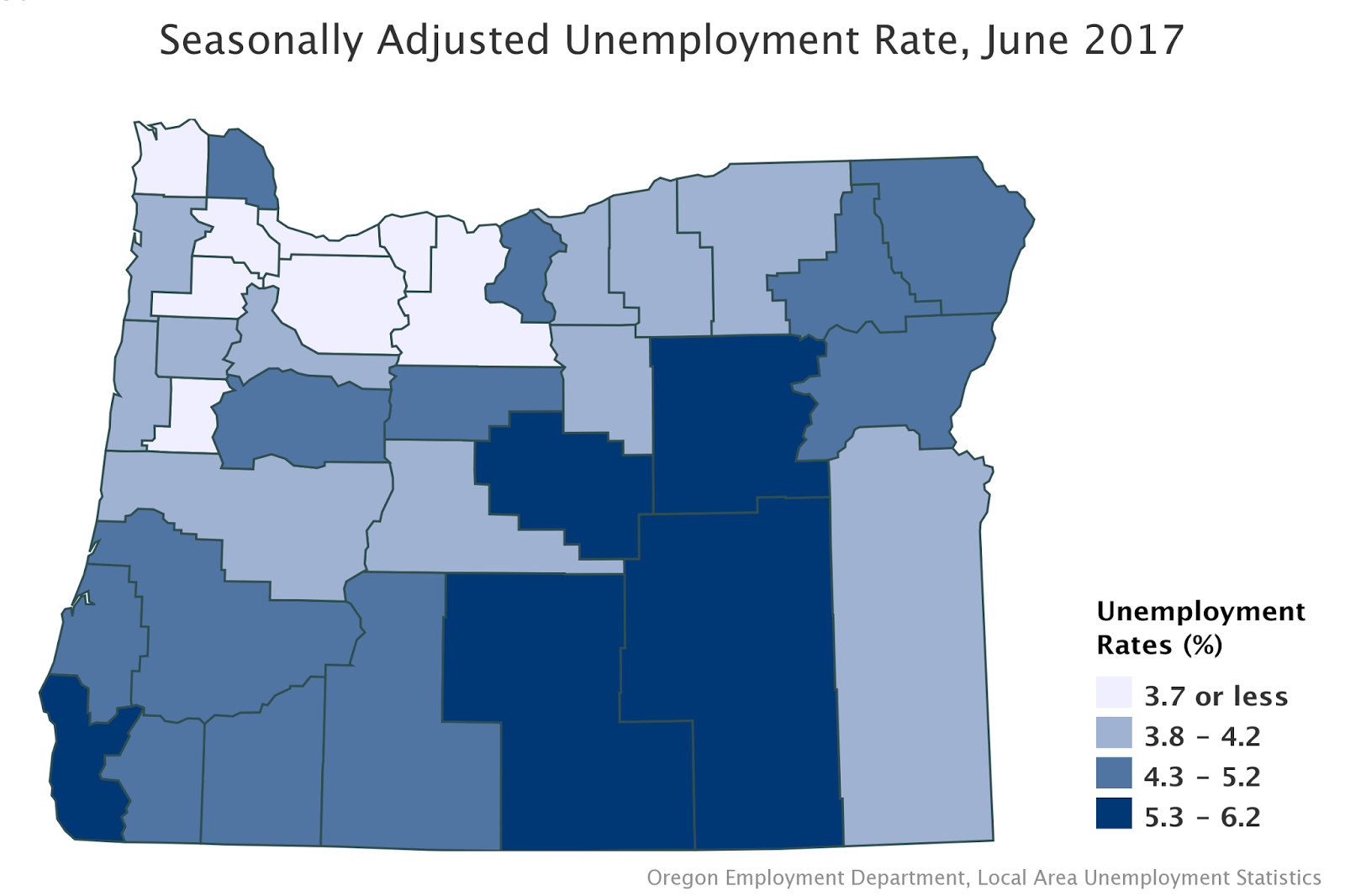Oregon Workforce And Economic Information - Us counties with highest unemployment rate
