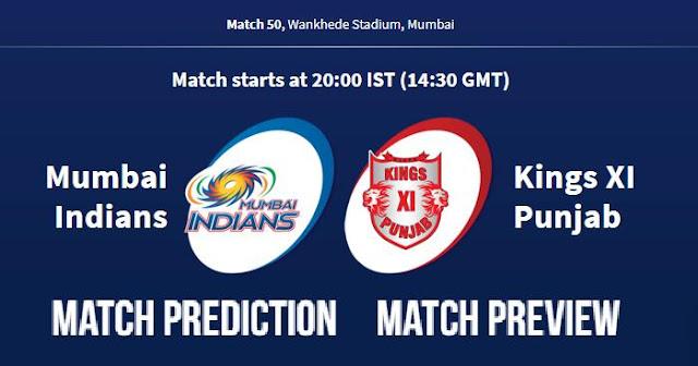 IPL 2018 Match 50 MI vs KXIP Match Prediction, Preview, Head to Head, Who Will Win