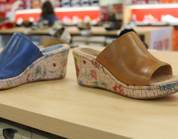 colorful cork wedges at famous footwear