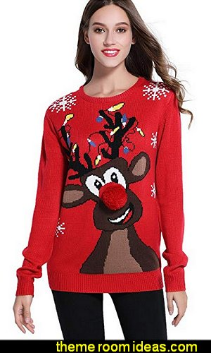Christmas Cute Reindeer Knitted Sweater Girl Pullover  ugly sweaters - Christmas ugly sweaters  - decorate yourself - womens ugly sweaters - ugly mens sweaters - embellished ugly sweaters - fun sweaters - novelty sweaters - Christmas party sweaters - quirky party sweaters -