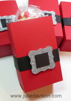 Santa Half Sheet Treat Box + Tutorial & Template #christmas #stampinup www.juliedavison.com