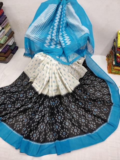 Ikkat Kkat Merceraized Cotton Sarees With Blouse.B