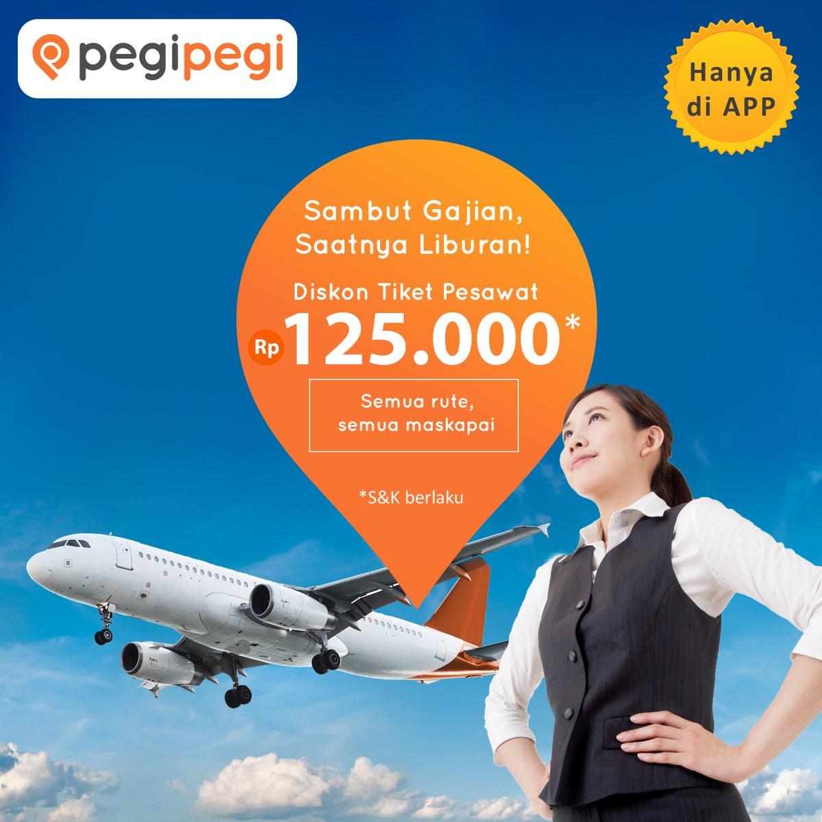 PegiPegi - Promo Gajian Diskon Tiket Pesawat s.d 125 Ribu (s.d 5 Okt 2018)
