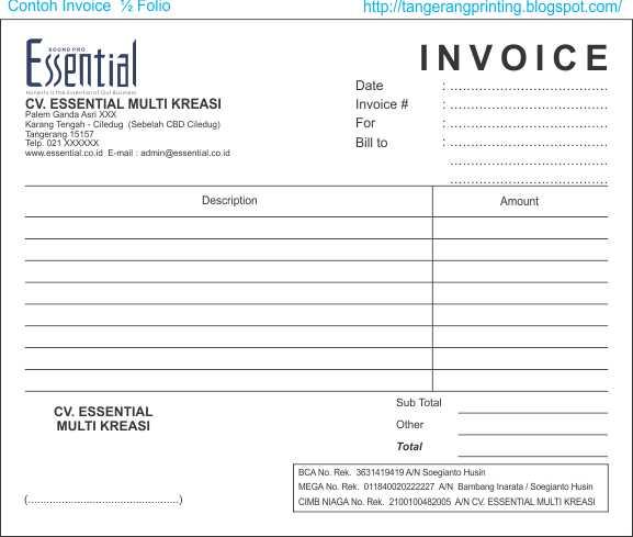 Contoh Kartu Nama: PERCETAKAN TANGERANG: Nota & Faktur