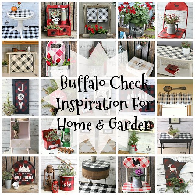 Buffalo Check Stencil Inspiration #oldsignstencils #buffalocheck #buffaloplaid #stencil #junkgarden #holidaydecor #Christmas