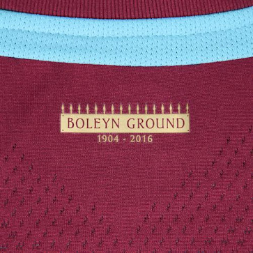 The front of the new West Ham 2015-16 Kit boasts a special commemorative  crest with the legend  Boleyn Ground 1904-2016  underneath 0261f96ef