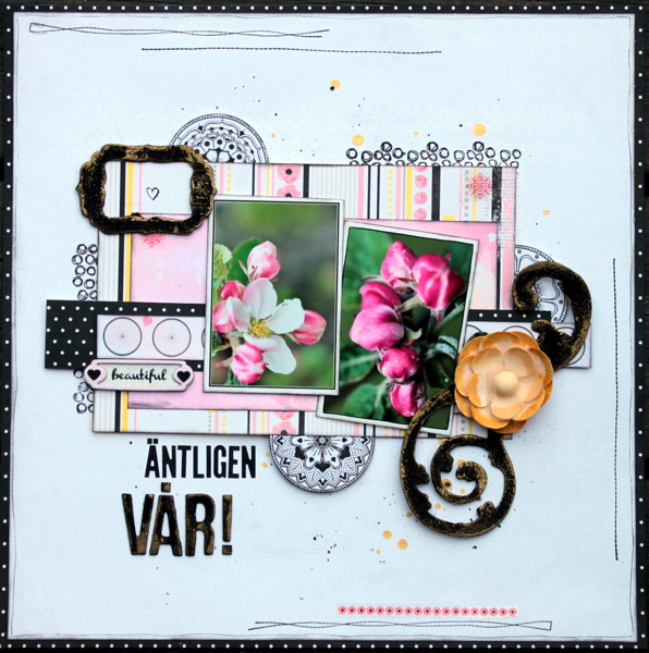 Antligen Var Scrapbook Page by Ulrika Wandler using BoBunny Petal Lane Collection