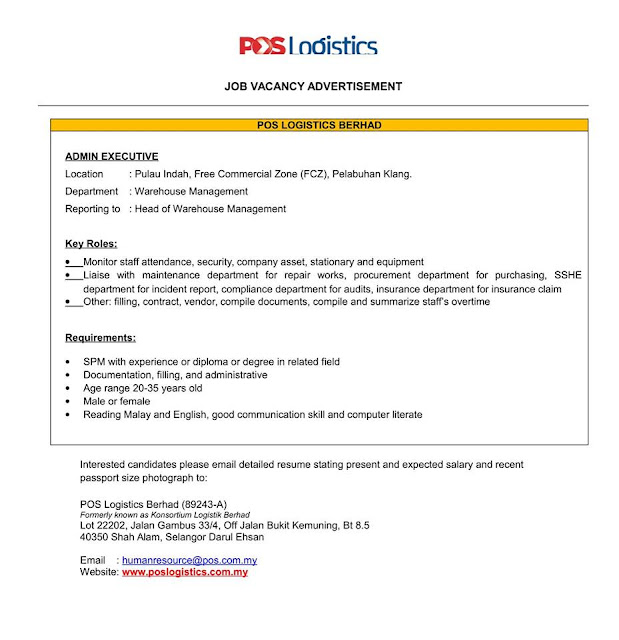 pos logistic vacancies