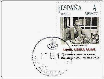 Sobre con sello de correos con la imagen de Àngel Ribera