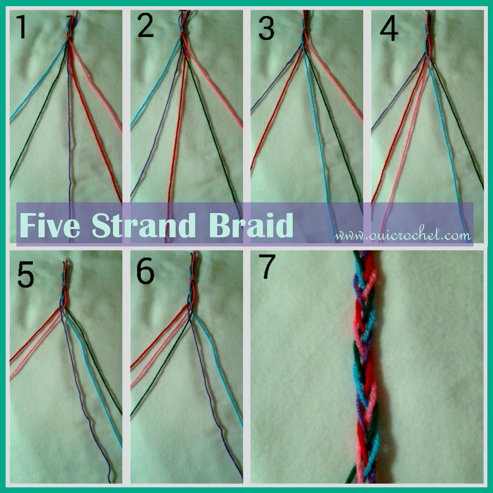 Five Strand Braid Tutorial, How to Braid With Five Strands, Crochet Resources, Crochet Tutorial, Tutorial,
