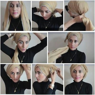 Tutorial Hijab Turban Segi Empat Modern Gaya #19 Hobo Style
