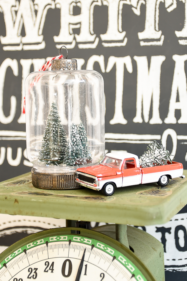 Holiday decorating with bottle brush trees and vintage red trucks