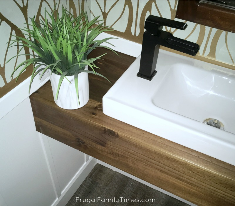 How to build a modern wood floating vanity for less than for Diy floating vanity sink