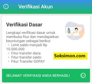 Verifikasi akun dasar Payfazz berhasil
